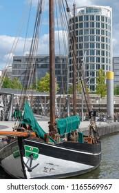Traditional sailboat in the Hafencity, Hamburg