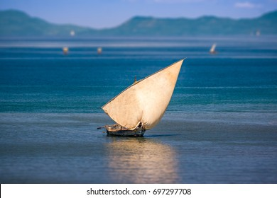 Traditional sailboat off Nosy Be island in northern Madagascar.