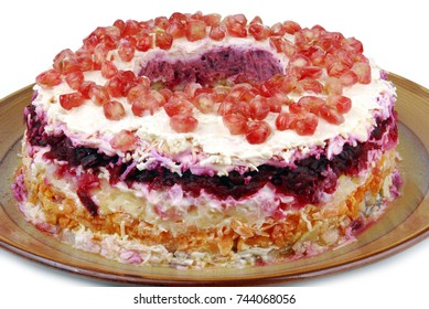 traditional salad  herring dressed layered with vegetables- Selyodka pod shuboy