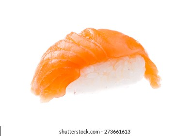 Traditional salmon sushi isolated on white background