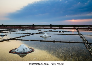 Traditional salt farm in Tainan Taiwan