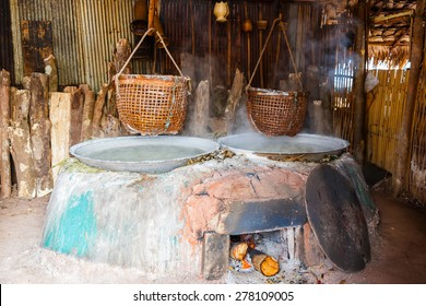 Traditional salt making by boiled with old method in Nan, Thailand