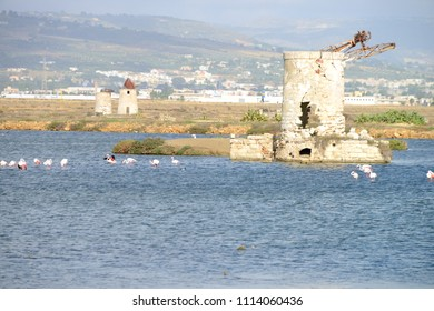 Traditional salt manufacturing windmill, Saline di Trapani, Sicily, Italy