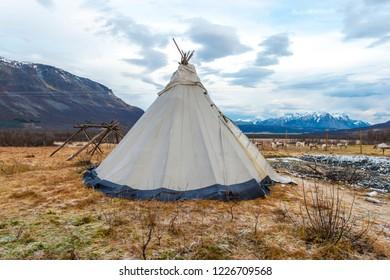 Traditional Sami reindeer-skin tents (lappish yurts)