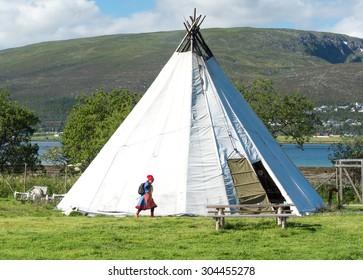 Traditional Sami reindeer-skin tents (lappish yurts) in Tromso