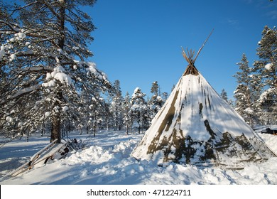 Traditional Sami tent in Finland.