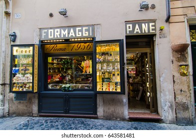 Traditional sandwish shop in Rome, Italy  : April 7, 2017 : Rome, Italy