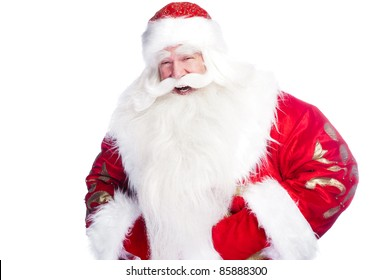 """Traditional Santa Claus giving a big """"ho ho ho"""" belly laugh. Isolated on white."""