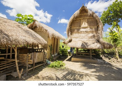 Traditional Sasak village on Lombok, Indonesia. This is very typical building used mainly for storing rice.