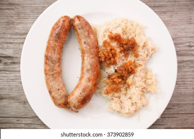 Traditional sausage with sour cabbage in Velika Planina, Slovenia