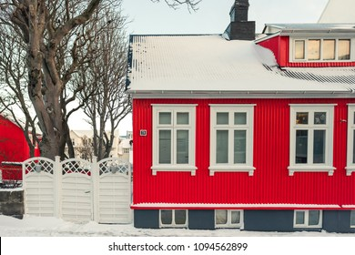 Traditional Scandinavian architecture in Reykjavik, Iceland. Cold winter day in Reykjavik.