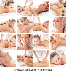 Traditional Scandinavian massage collection. Spa, rejuvenation, health care, healing and medicine concept.