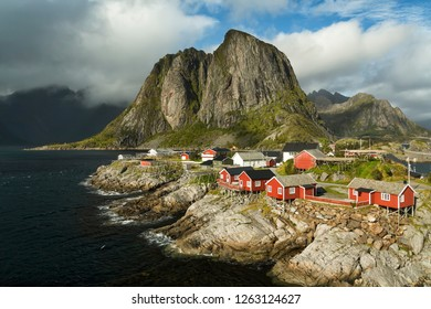 Traditional Scandinavian red wooden houses, Rorbuer of the fisherman village of Reine, Lofoten Islands, Norway