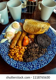 A traditional Scottish breakfast, including haggis and black pudding