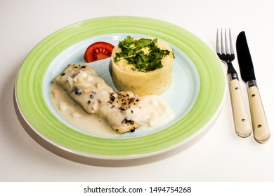 traditional scottish dish, baked cod and egg with mashed potato