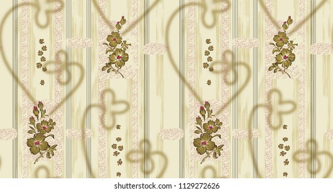 TRADITIONAL SEAMLESS TEXTILE  GRADIENT BACKGROUND TEXTURES FLORAL  BORDER DESIGN