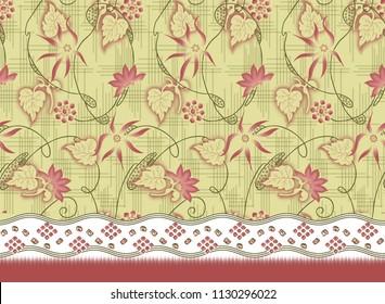 traditional seamless textile gradient textures floral border design