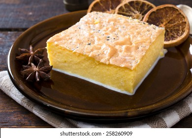 Traditional Serbian cake called koh stuffed with milk