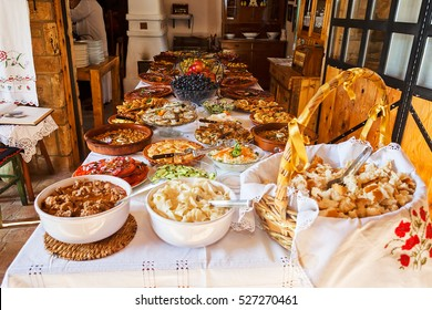 traditional Serbian lunch, note shallow depth of field