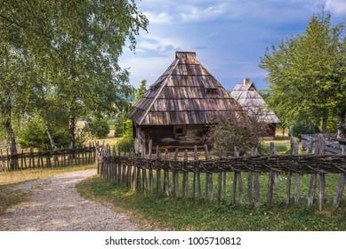 Traditional Serbian wooden hut in open-air museum in Sirogojno, small village of Zlatibor region of Serbia