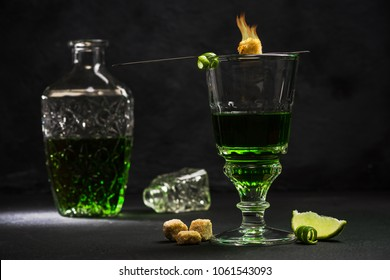Traditional set for drinking Absinthe.