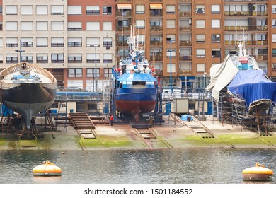 Traditional shipbuilding harbor with ships in Bermeo. Basque country, Spain