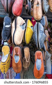 Traditional shoes on a market, Morocco