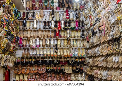 A Traditional Shoes shop in  Saddar Bazar of Peshawar, KPK, Pakistan on 23rd January 2017
