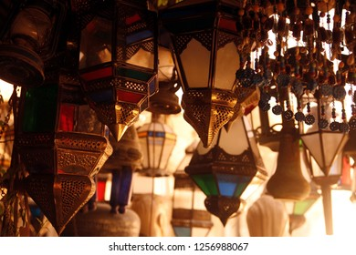 a traditional shop with syrian lamps in the market or souq in the old town in the city of Damaskus in Syria in the middle east.  Syria, Damascus, April, 2009