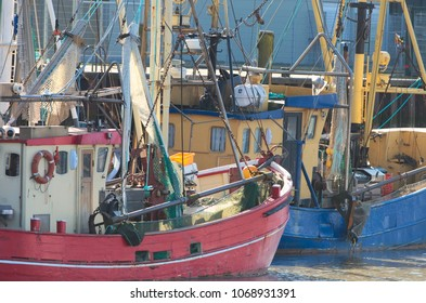 Traditional shrimper boats anchoring in the North Sea