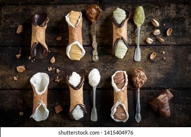 Traditional Sicilian dessert called cannoli with cream