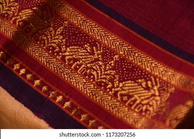 Traditional silk woven handloom saree border