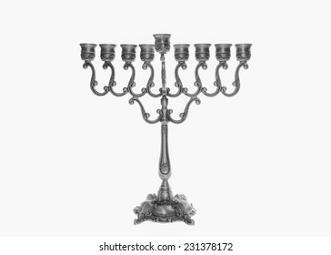 Traditional silver Jewish Menorah