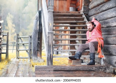 Traditional Slavic rituals in the rustic style. Outdoor in summer. Slavic village farm. Peasants in elegant robes. - Shutterstock ID 2006994035
