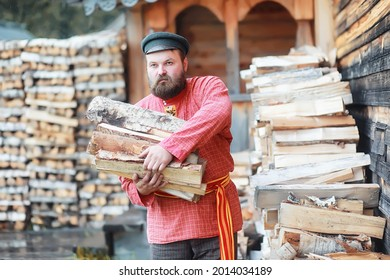 Traditional Slavic rituals in the rustic style. Outdoor in summer. Slavic village farm. Peasants in elegant robes. - Shutterstock ID 2014034189