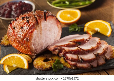 Traditional Sliced Honey Glazed Ham Ready for the Holidays