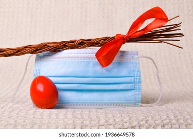 Traditional Slovak easter whip with facemask in time of covid-19 - Shutterstock ID 1936649578