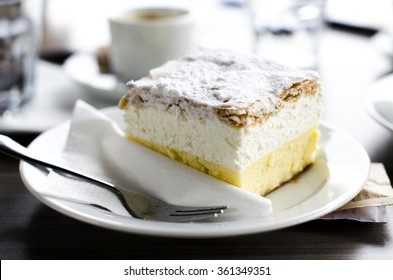 Traditional Slovenian dessert - cream cake called Kremna Rezina or Kremsnita. The photo was taken in Bled, Slovenia.
