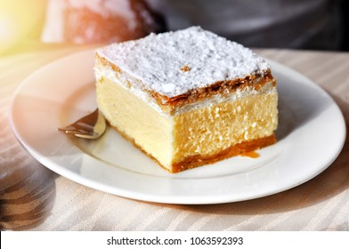 Traditional Slovenian dessert -  slice of cream cake called Kremna Rezina or Kremsnita.Bled lake,Slovenia,Europe