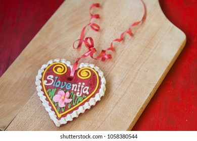 Traditional Slovenian gift, gingerbread heart named LECT
