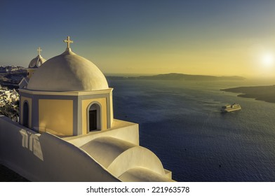 Traditional small church in Thira, Santorini, Greece-vintage look