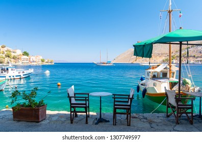 Traditional small street taverna in Symi island, Greece