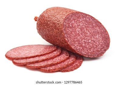 Traditional Smoked Salami Sausage, close-up, isolated on a white background.