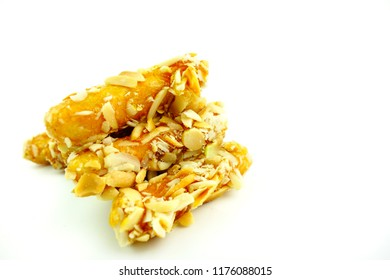 Traditional snack or dessert from Aceh,Indonesia known as lontong paris on white background. Energy bar