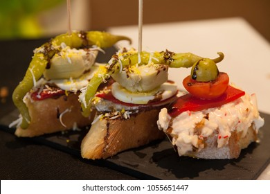 Traditional snack in the Spanish cuisine- tapas.