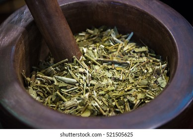 Traditional South American yerba mate tea. Selective focus
