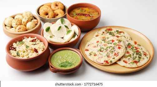 Traditional South Indian breakfast varieties - Uttapam, Rava Upma, Idli, chutney, Medu vada, Sambhar, Appam