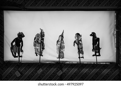 Traditional south of Thailand Shadow Puppet Show, Black-white.