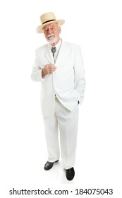 Traditional Southern senior gentleman, full body isolated on white.