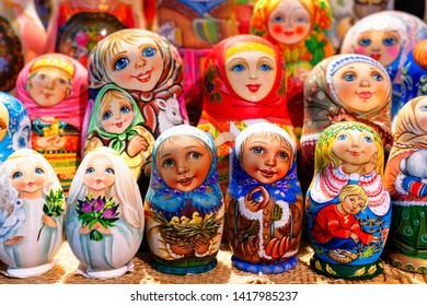 Traditional souvenirs for tourists - Russian matrioshka (nesting dolls)